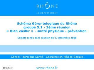 Sch ma G rontologique du Rh ne groupe 5.1 - 2 me r union   Bien vieillir   - sant  physique - pr vention   Compte rendu