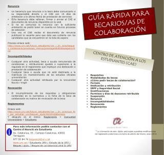 GUÍA RÁPIDA PARA BECARIOS/AS DE COLABORACIÓN