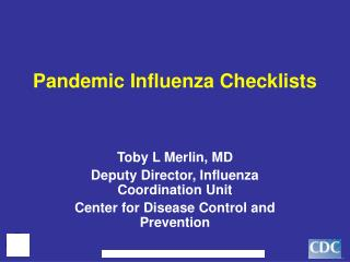 Pandemic Influenza Checklists