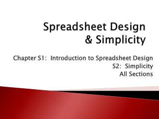 Excel 1 Lab:   Spreadsheet Design  Simplicity