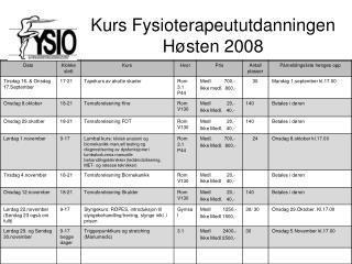 Kurs Fysioterapeututdanningen Høsten 2008