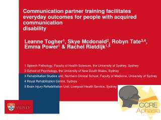 Leanne Togher 1 , Skye Mcdonald 2 , Robyn Tate 3,4 , Emma Power 1  & Rachel Rietdijk 1,5