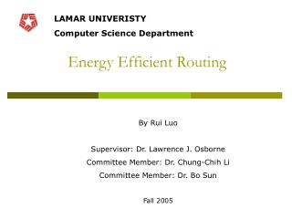 Energy Efficient Routing