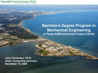 Bachelors Degree Program in Mechanical Engineering at Texas A&M University-Corpus Christi