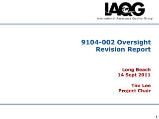 9104-002 Oversight Revision Report