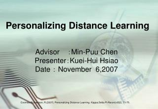Personalizing Distance Learning