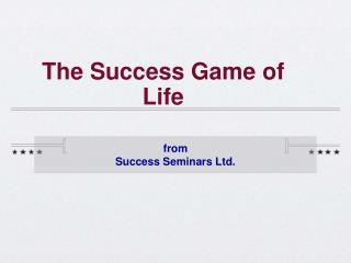 The Success Game of Life