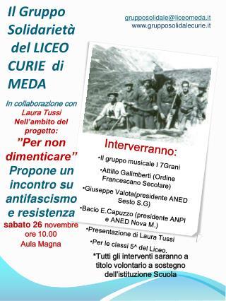 Il Gruppo Solidarietà  del LICEO CURIE  di  MEDA