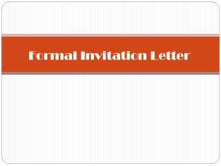 Formal Invitation Letter