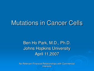 Mutations in Cancer Cells