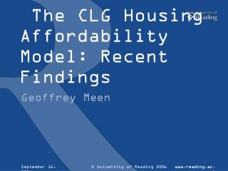 The CLG Housing Affordability Model: Recent Findings