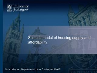 Scottish model of housing supply and affordability