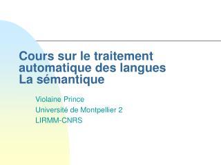 Cours sur le traitement automatique des langues La s mantique