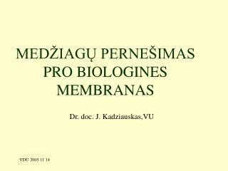 MEDŽIAGŲ PERNEŠIMAS PRO BIOLOGINES MEMBRANAS