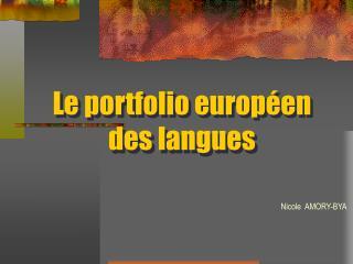 Le portfolio europ en des langues