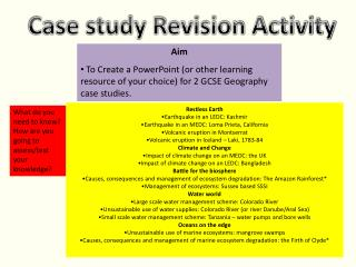 Case study Revision Activity