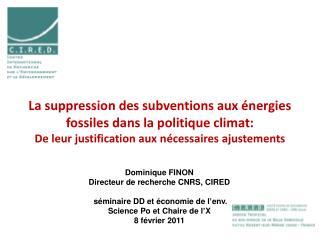 Dominique FINON Directeur de recherche CNRS, CIRED  séminaire DD et économie de l'env.