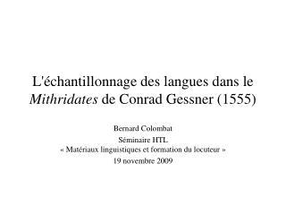 L chantillonnage des langues dans le Mithridates de Conrad Gessner 1555