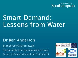 Smart Demand: Lessons from Water