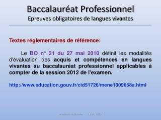 Baccalaur at Professionnel Epreuves obligatoires de langues vivantes