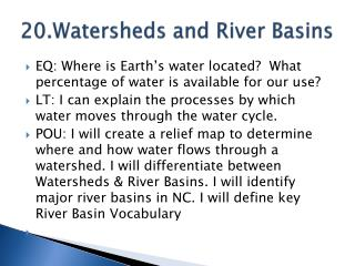 20.Watersheds and River Basins