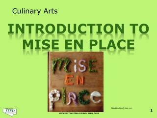 Introduction to  Mise en place