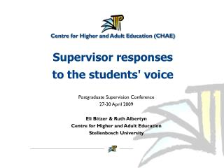 Supervisor responses  to the students' voice