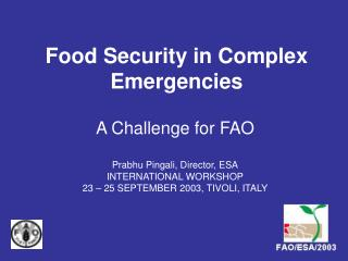 Food Security in Complex Emergencies