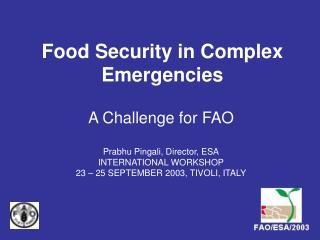 Food Security in Complex Emergencies