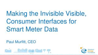 Making the Invisible Visible, Consumer Interfaces for Smart Meter Data Paul Murfitt, CEO