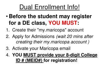 Dual Enrollment Info!