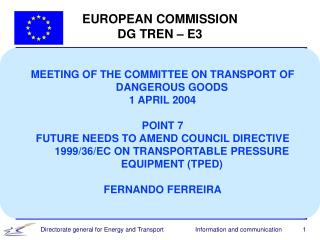 EUROPEAN COMMISSION DG TREN – E3