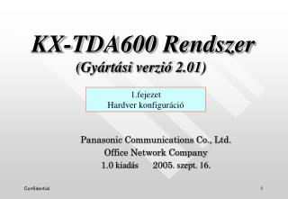 Panasonic Communications Co., Ltd. Office Network Company 1.0  kiadás       2005 . szept. 16.