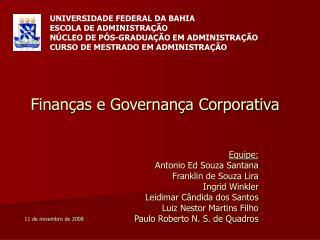 Finanças e Governança Corporativa