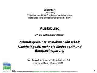 DW  Die Wohnungswirtschaft und Aareon AG Hamburg/Mainz, Oktober 2009