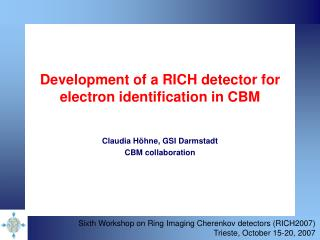 Development of a RICH detector for electron identification in CBM