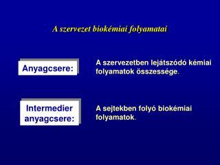 A szervezet biok�miai folyamatai