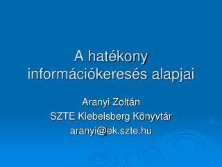 A hatékony információkeresés alapjai