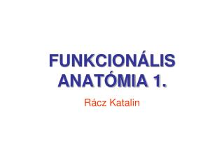 FUNKCIONÁLIS ANATÓMIA 1.