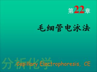 第 22 章 毛细管电泳法 Capillary Electrophoresis,  CE