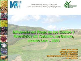 Influencia del Riego en los Costos y Beneficios del Ceboll n, en Sanare, estado Lara - 2003