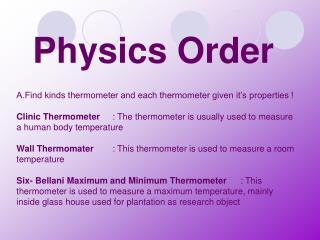 Physics Order