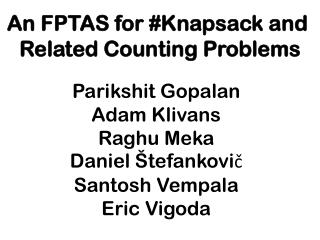 An FPTAS for #Knapsack and  Related Counting Problems