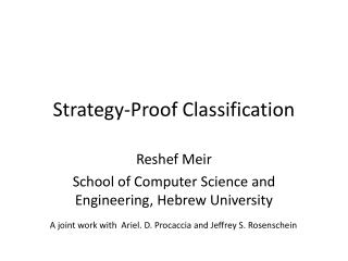 Strategy-Proof Classification