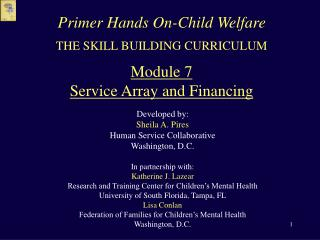 THE SKILL BUILDING CURRICULUM  Module 7 Service Array and Financing