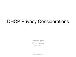 DHCP Privacy Considerations