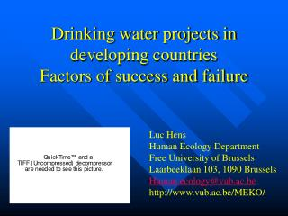 Drinking water projects in developing countries  Factors of success and failure