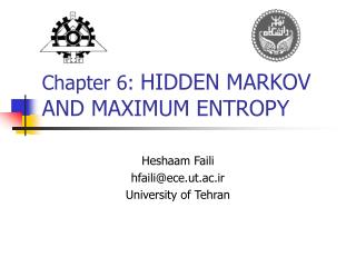 Chapter 6:  HIDDEN MARKOV AND MAXIMUM ENTROPY
