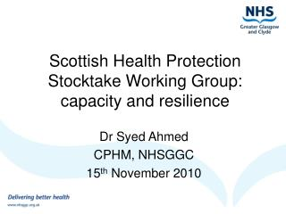 Scottish Health Protection Stocktake Working Group: capacity and resilience