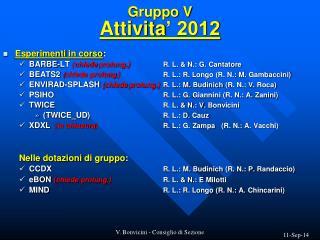 Gruppo  V Attivita ' 2012